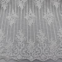 Floral Corded Embroidered Sequin Lace Fabric For Bridal Gowns Dresses Manufactures