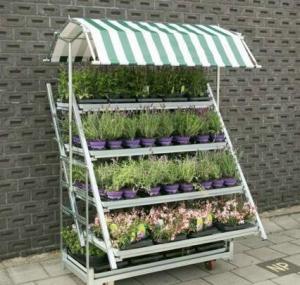 Buy cheap Four wheels folding garden steel flower cart trolly for sale 1350x565x1900mm from wholesalers