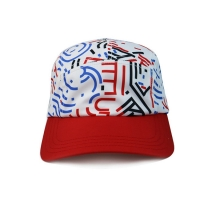 High Quality 5 Panel Caps sublimation pattern camper cap with polyester with nylon webbing plastic buckle Manufactures