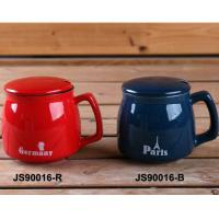 Red 15oz Ceramic Mugs With Lid And Spoon / Ceramic Cups With Handle Manufactures