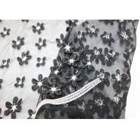 White Black Small Flowers Mesh Lace Fabric Elastic Polyester Nylon Tulle Plain Style Manufactures