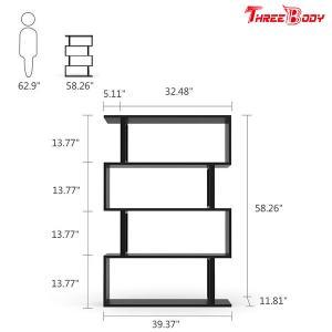China Black  Modern Office Furniture Corner 4 Shelf Bookshelf For Living Room / Bedroom on sale