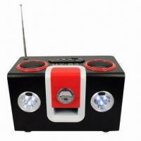 Wood Speaker with 6 LEDs Light for SD U-disk MP3 PC Phones Manufactures