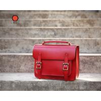 Red Large Handbags Handmade Vintage Leather Briefcase Manufactures