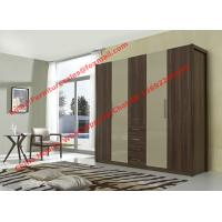 Quality Bedroom wardrobe closet in MDF melamine with inner cloth racks and storage for sale