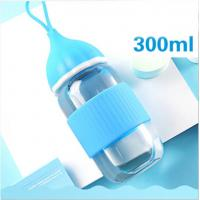 Blue BPA Free Baby Bottles , Safe Baby Feeding Bottles With Silicone Lid Manufactures