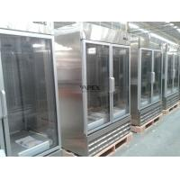 China Upright glass front beverage refrigerator 1200L , double door commercial refrigerator on sale