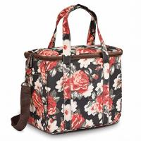 China Thermal Insulated Cooler Tote Bags Wide Open Snacks Organizer Flower Printed on sale