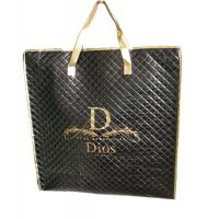 Quality Waterproof 75g black quilted unwoven fabric zipper reusable carrier bags for sale
