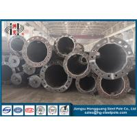 Steel Flange Connection Type Electrical Power Pole , Galvanized Pole With Anchor Bolt Manufactures