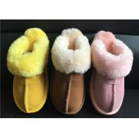 Ladies Genuine Sheepskin Slippers Mules Non Slip Hard Sole Womens winter Warm Slippers Manufactures