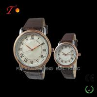 Couple watch rose gold alloy case with leather strap Manufactures