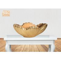Home Decor Gold Leaf Fiberglass Decoration Table Vase Flower Serving Bowl Manufactures