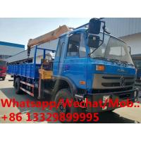 China Dongfeng 153 4*2 LHD 8tons telescopic crane boom mounted on truck for sale, Customized CLW 8tons cargo truck with crane on sale