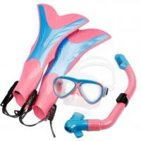 Comfortable Pink Snorkel Set Ladies , Goggles Snorkel Flippers Open Heel Manufactures