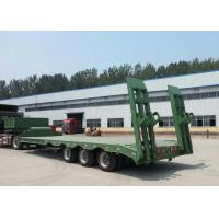 Low-bed Semi Trailer Truck 3 Axles 60Tons 15m for Loading construction machine Manufactures