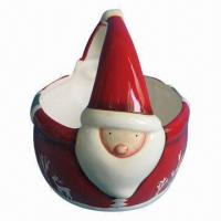 Ceramic Fruit Basket, Santa Claus for Christmas Design, Customized Logos and Colors Available Manufactures