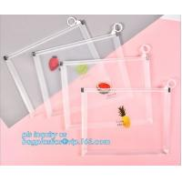 Custom Packaging Clear PVC Jelly Bag with Plastic Slider Ziplock PVC Storage Cosmetics Packing Bag, white logo small pla Manufactures