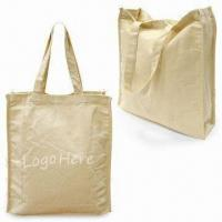 Canvas Shopping Bag with Bottom and Hook-and-loop Closure, Measures 34 x 30.5 x 9cm Manufactures