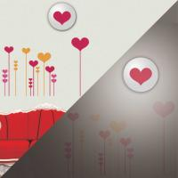 heart shaped wall sticker led lamps, plastic wall lamps for living room decoration Manufactures