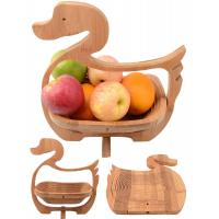 China Craft Duck Animal Shaped Spiral Cut Bamboo Wood Foldable Fruit Food Basket Pot Coaster on sale