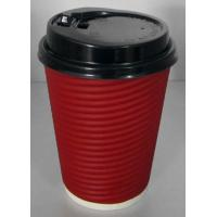 China Light Weight Disposable Paper Cups With Lids Anti Slip Design , Double Wall For Hot Drink on sale