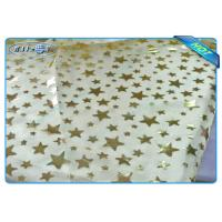 Diposable Golden Star Printed Non woven Tablecloth Roll / Piece For Christmas Decoration Manufactures
