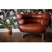 China Retro Leather Eileen Gray Bibendum Chair , Black Mid Century Modern Furniture on sale