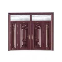 Villa european simple style wood like color metal security door W1500*H560-850mm Manufactures