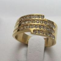 Popular Gold Plating 316L Stainless Steel Rings for Women with Cubic Zirconia Manufactures