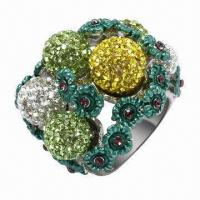 Silver Ring with Crystals, Available in Rhodium, Gold, Rose Gold, and Other Platings Manufactures