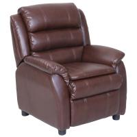 Brown Contemporary Leather Sofa / Comfortable Children Sofa with PU Covered