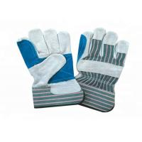 Heavy Duty Leather Safety Gloves Stripe Cotton Fabric Material CE Approved Manufactures