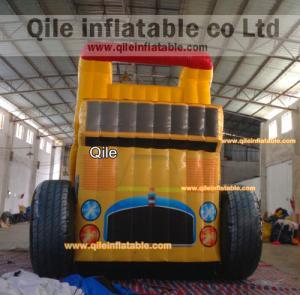 Quality Big trucks  slide inflatable aqua slide with safe baffle for sale
