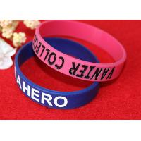 Quality Lettering Debossed Silicone Wristbands , Rubber Promotional Bracelets Smooth for sale