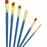 Wooden Handle Golden Synthetic Paint Brush Sets , Interlocked Fine Bristle Paint Brushes Manufactures