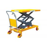 China Hand Operated Movable Lift Table Double Scissor Heavy Duty Steel Construction on sale