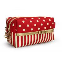 China Red Cotton Womens Travel Cosmetic Bags Cosmetic Handbags Fashionable on sale