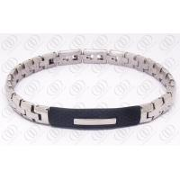 China Fashion Stainless Steel Bracelets With Black Rubber Unisex , Silver and Black Bracelet on sale