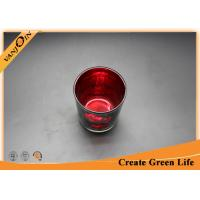 China Mercury Votive Red Glass Storage Jars with Lids For Candle Decoration on sale