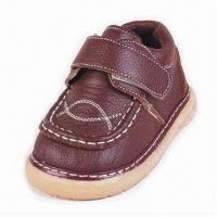 Genuine Leather Shoes for Boys, with Mesh Lining and Insole