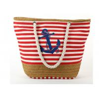 China Navy Style Straw Weave Non Woven Polyester Bags With Rope Handles Zipper Closure on sale