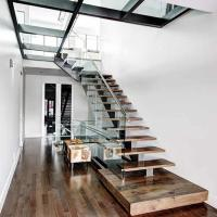 China American Standard Stair Single Mono Steel Beam Steel Glass Railing Wood Step Stair on sale