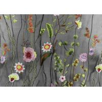 French Colorful Tulle Embroidered Bridal Lace Fabric For Evening Dress With 3D Flowers Manufactures