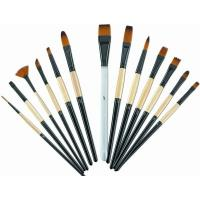 Brown Round Tip Paint Brush , Acrylic Paint Brushes For Beginners Brass Ferrule Manufactures