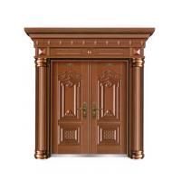 Villa european style wood like color metal security door W1500*H560-850mm Manufactures