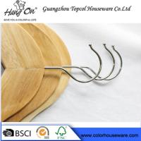 Quality Hotel Natural Wooden Hangers / Jacket Coat Hangers With Chrome Round Hook for sale