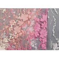 Colourful Lace Material For Dressmaking / Embroidered Sequin Fabric SGS Approval