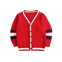 Children Knitted Girls Red School Cardigan Sweater Striped Sleeve Pattern Manufactures