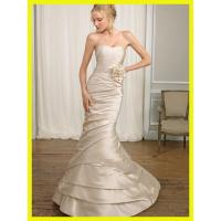 China 2012 Trumpet Strapless Hand-Made Flower Sleeveless Sweep / Brush Train Satin Wedding Dress for Bride on sale